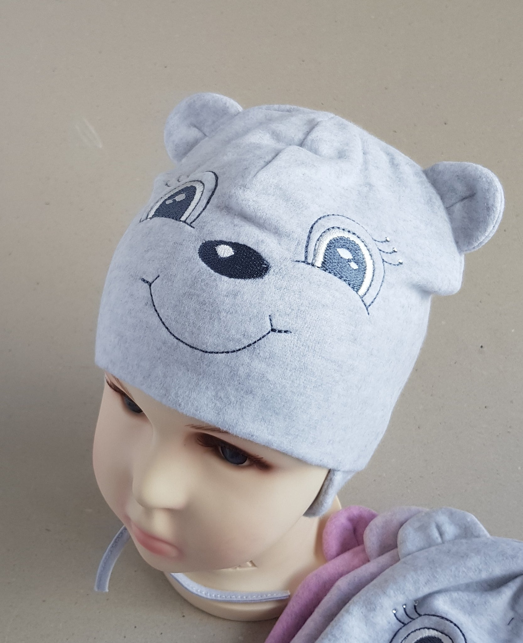 Winter hat  Little BEAR for girls sizes 44, 46, 48, 50 (from 6 months up to 3  years old)