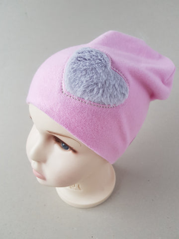 Beanie hat for girls fur heart ( from 4 months up to 4  years old and more.)