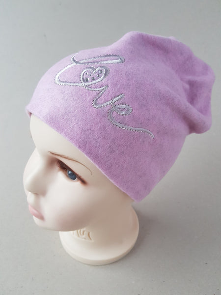 Beanie hat for girls Love ( from 4 months up to 4 years old)