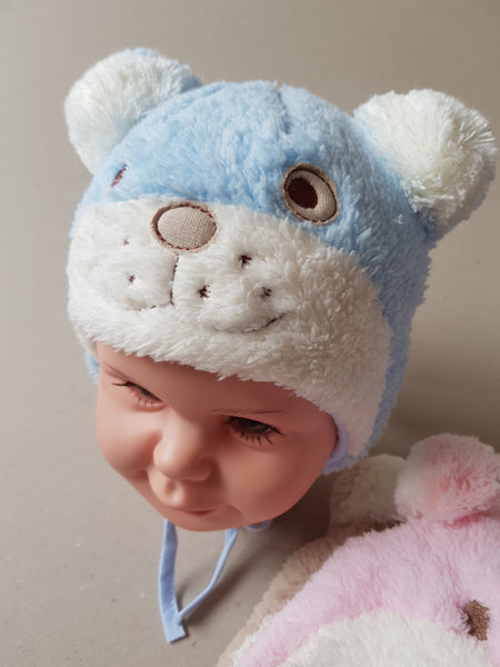 Winter baby hat Teddy Bear Unisex in blue, brown and pink sizes newborn to 6 months