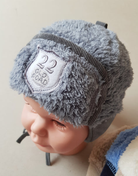 Winter hat for boys Borys pilot hats  grey brown cream blue sizes from 40 to 46