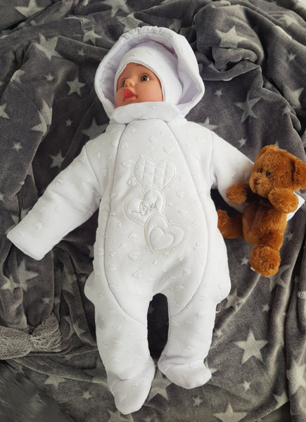 baby christening winter pram suit, baby girl all in one, baby overalls