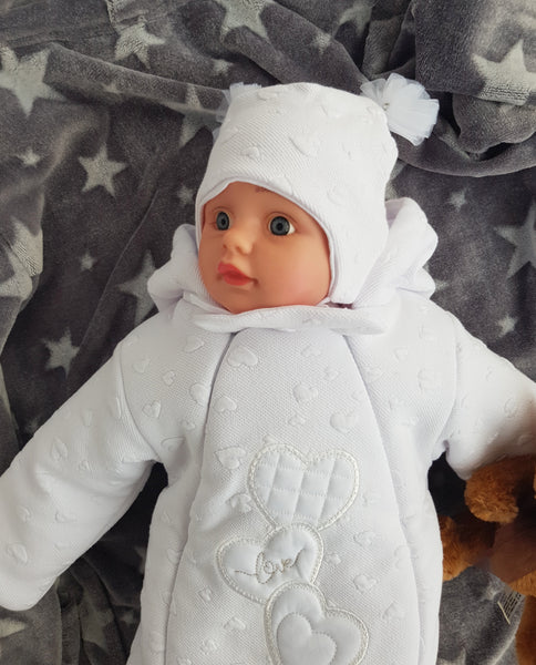 white snowsuit for newborns with matching hat