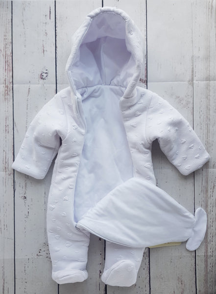 Baby Pram Suit All-In-One snowsuit HEARTS sizes 62(0-3 months) , 68(3-6 months), 74(6-9 months)