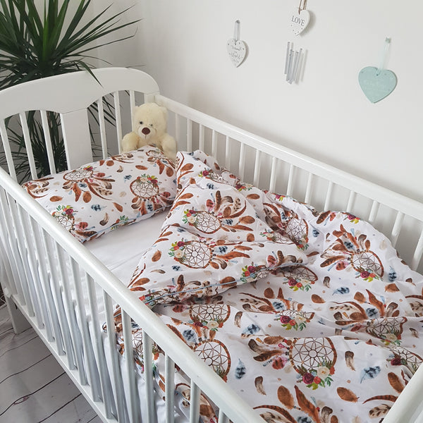 TODDLER COVERLET AND PILLOW SET DREAM CATCHER WHITE