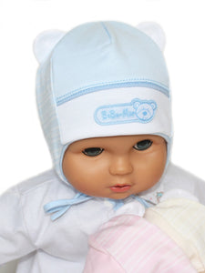 Cotton hats for newborn babies newborn in pink cream and blue