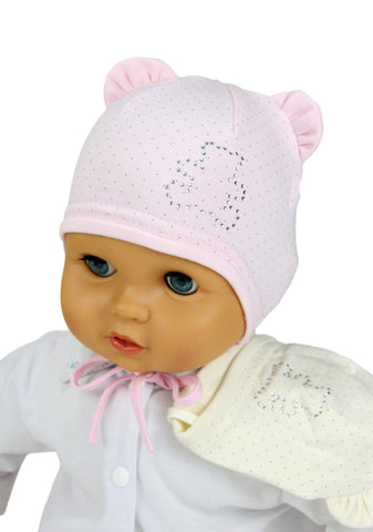 Baby girls hats with studs  Teddy Bear - only white and cream left