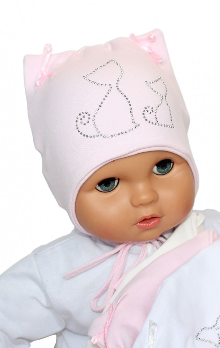 Baby girl hat with studs ornament 3-15