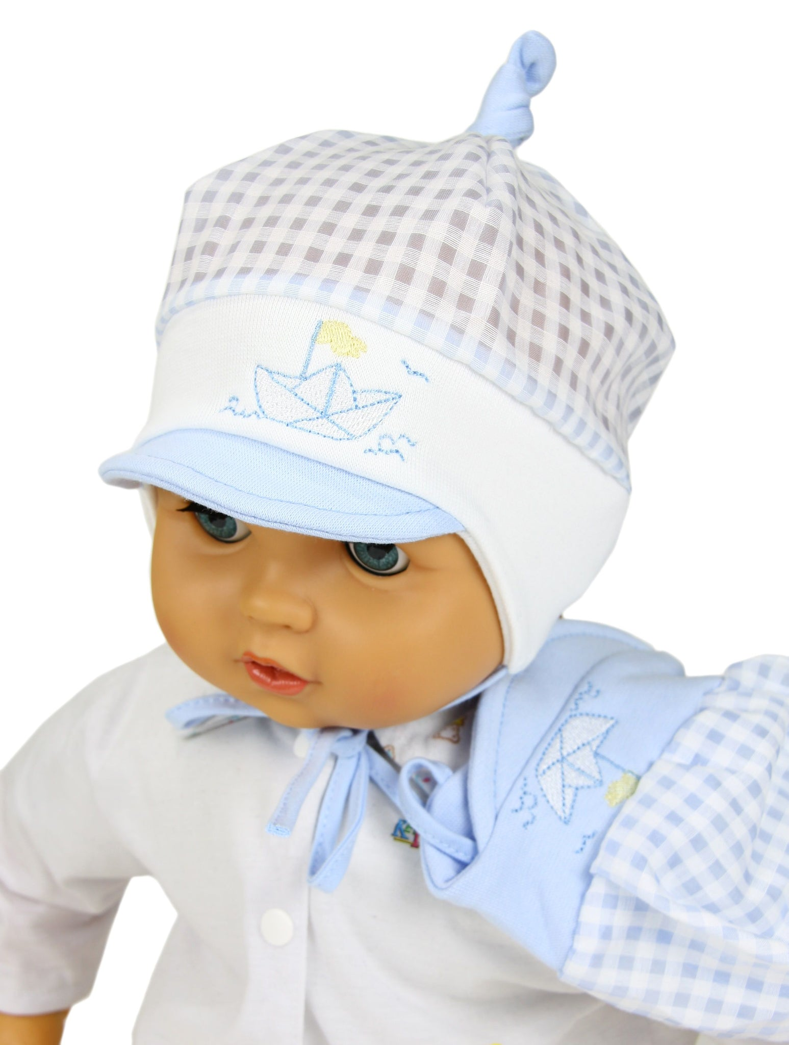 Baby boy  summer hat -boat in blue and white