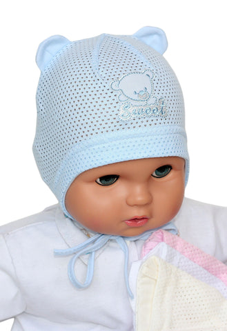 Mesh summer hats for boys and girls white,cream,blue