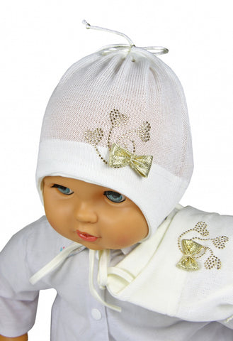 Cream baby girl hat with a bow