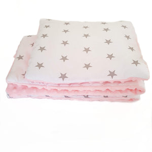 BLANKET & PILLOW SET NEWBORN GREY STARS PINK, GREY