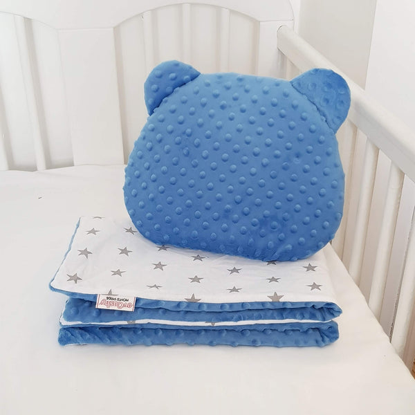 DIMPLE FLEECE AND COTTON SET BLANKET AND PILLOW FOR BABIES