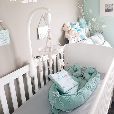 BABY POD 5 PIECE SET BEDDING - VELVET AQUA PURE
