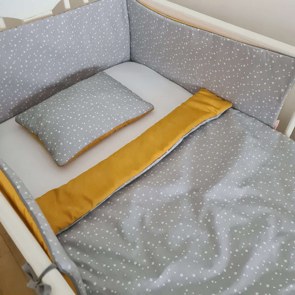 cot bedding set bumper blanket and pillow in mustard and grey