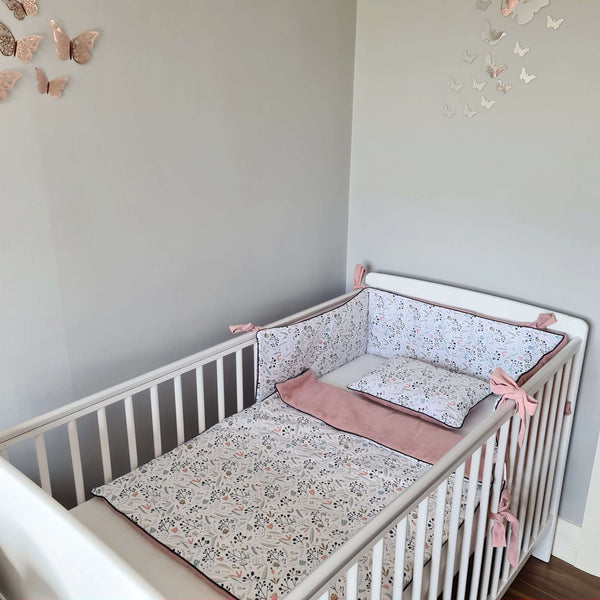 Baby bedding with filling- double-sided 'M'- Leaves