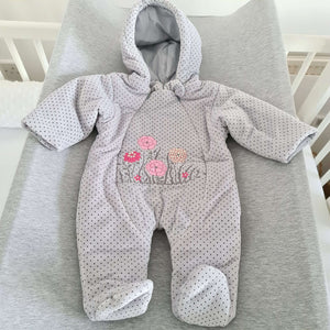 Baby Pram Suit All-In-One snowsuit FLOWERS sizes 62(0-3 months) , 68(3-6 months), 74(6-9 months)