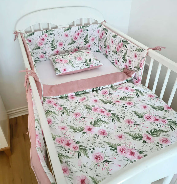 baby bedding for baby girl in pink floral