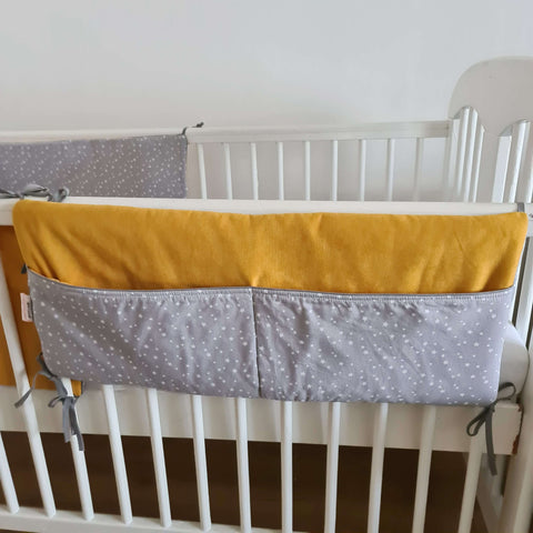 Cot organizer Mustard and Grey with Stars collection