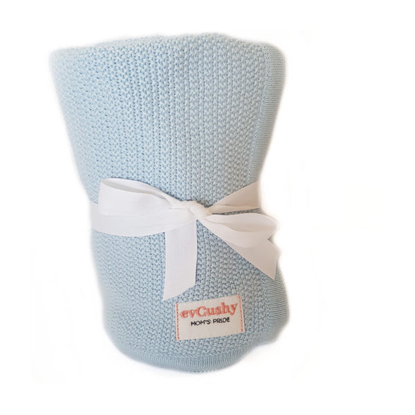 soft bamboo baby blanket in blue evcushy from Ireland