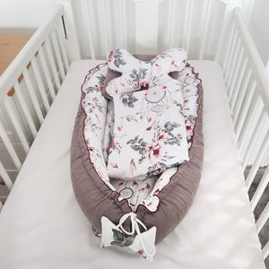 SPECIAL ORDER Baby Nest  Newborn Baby bundle 9 Pc's Set Queen Roses- pre order