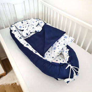 toddler pod XL nest from evcushy blue nest blanket and pillows