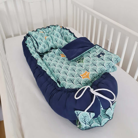 evcushy sleepyhead with bedding mattress, pillows, blanket for babies cot