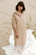 THE BOMBSHELL BUTTON DOWN IN NUDE BROWN dress - last one