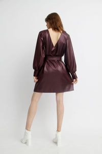 FAUX LEATHER CRUZ DRESS WITH BELT 2.0 - BLACK OR DEEP PURPLE