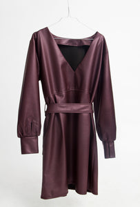 FAUX LEATHER CRUZ DRESS WITH BELT 2.0 - DEEP PURPLE OR BLACK
