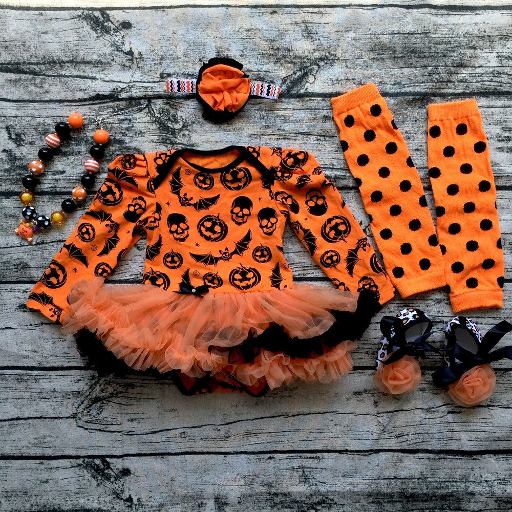 baby girls halloween sets with necklace and headband leg warmers