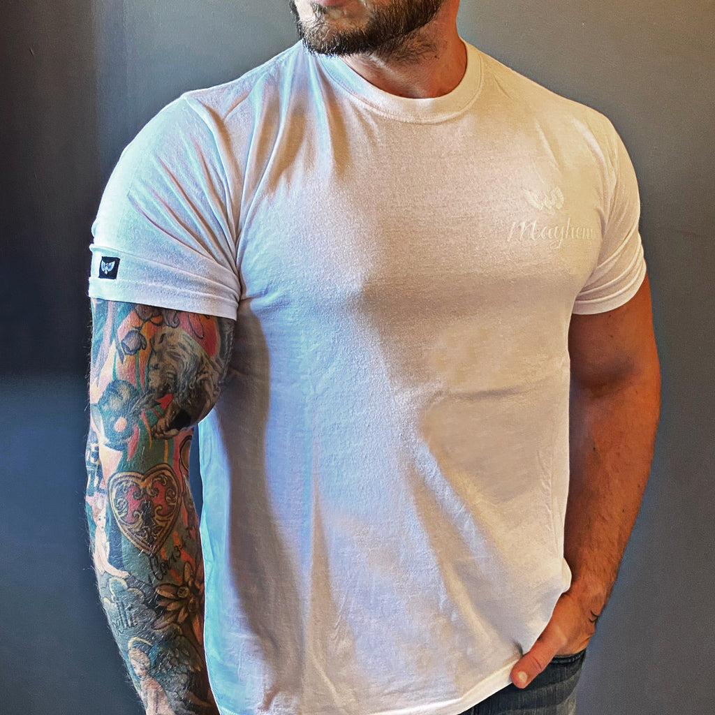 White T-Shirt with White Logo