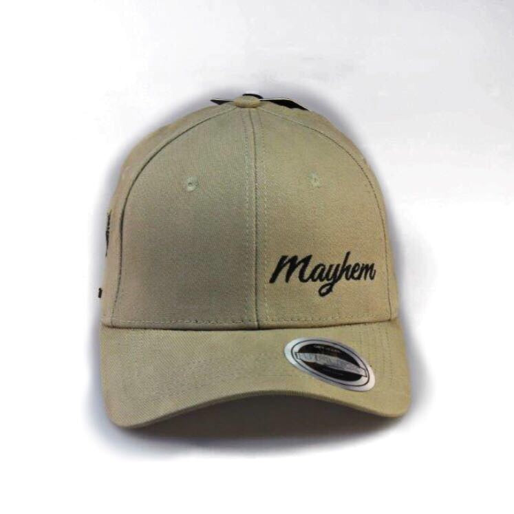 Khaki Cap- Round Peak, Closed Back with Black Logo