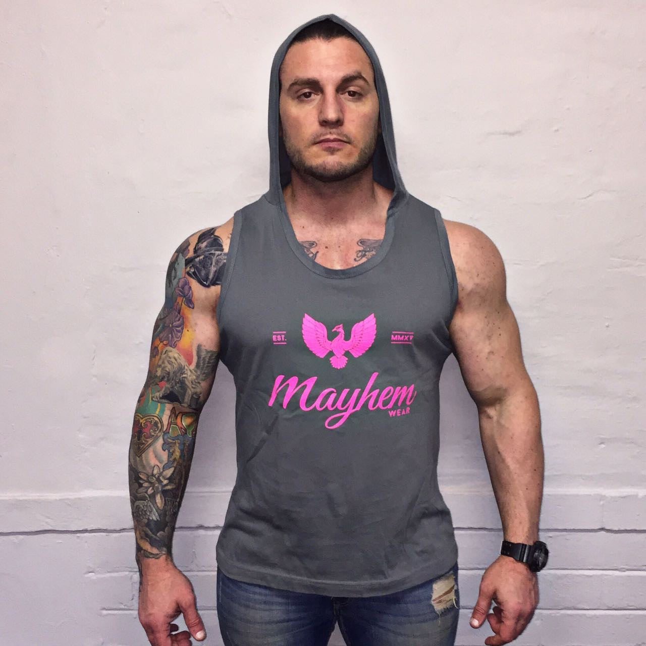 Grey Hoody Vest With Pink Logo