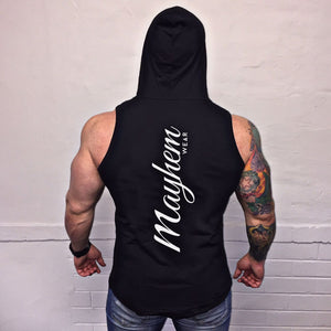 Black Hoody Vest With White Logo