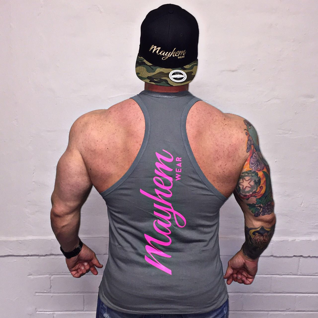 Grey Stringer With Pink Logo