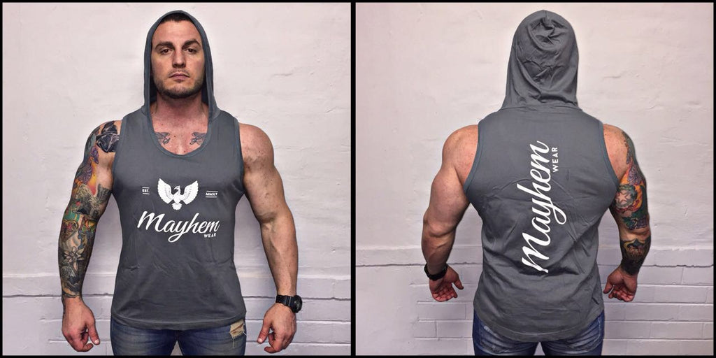 Grey Hoody Vest With White Logo