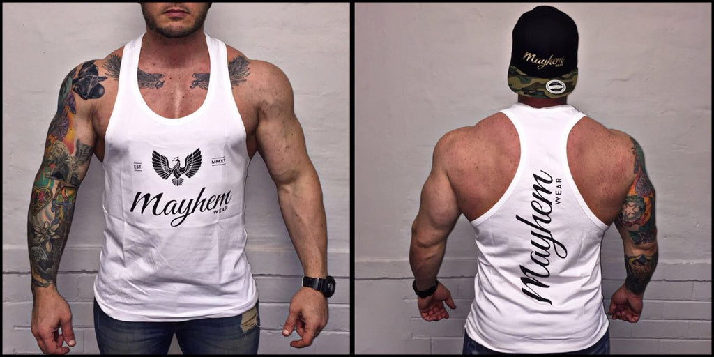 White Stringer With Black Logo