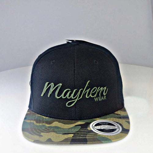 Black Snapback with Camo Peak and Military Green Logo