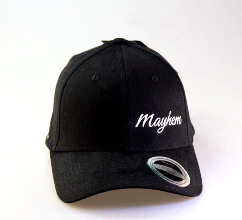 Black Cap- Round Peak, Closed Back with White Logo