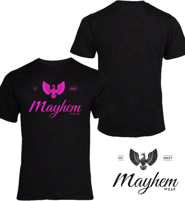 Black T-Shirt With Pink Logo