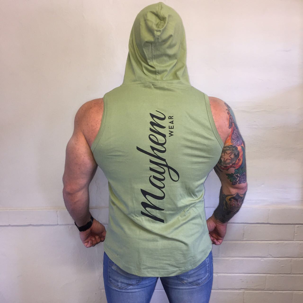 Olive Green Hoody Vest with Black Logo