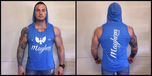 Blue Hoody Vest With White Logo