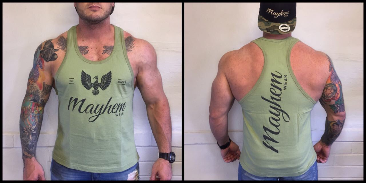 Olive Green Stringer With Black Logo