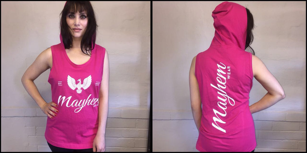 Pink Hoody Vest With White Logo