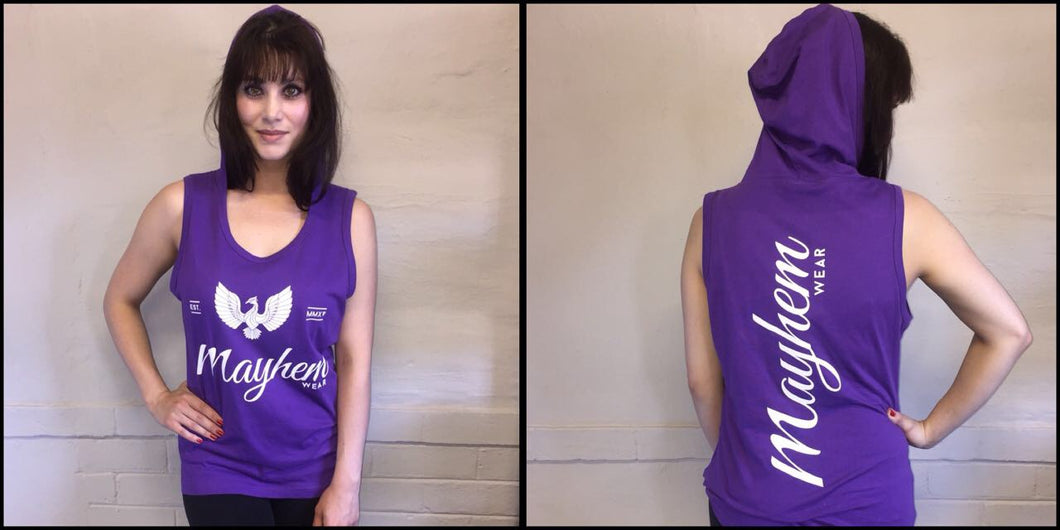 Purple Hoody Vest With White Logo