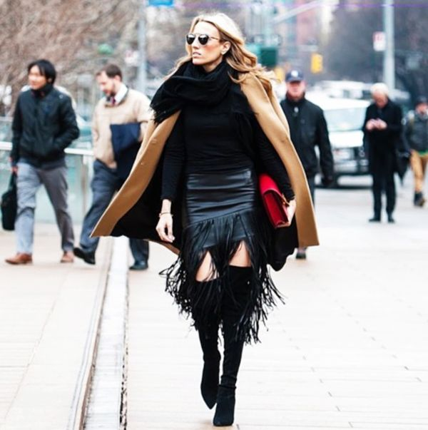 Leather outfit is always welcome during the winter.