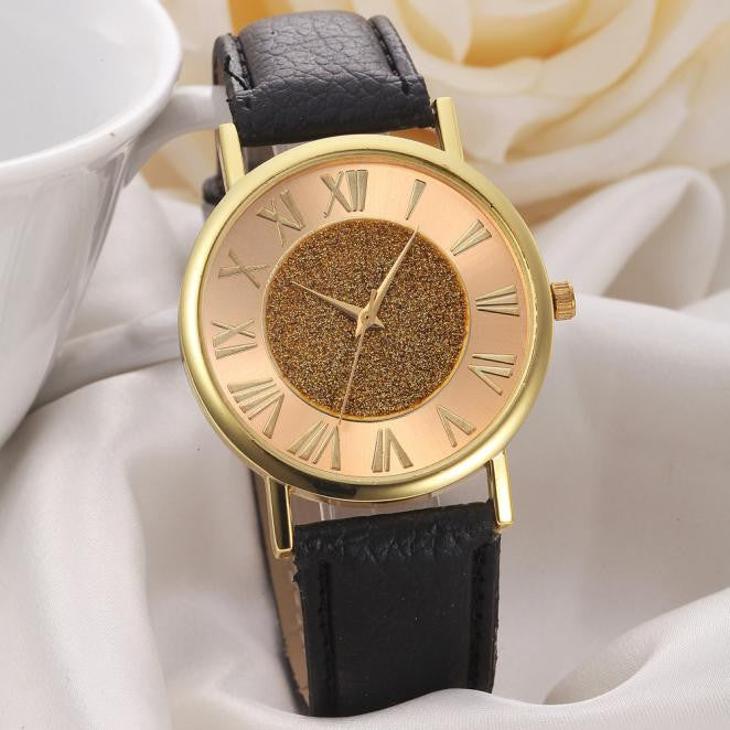 Glitter Dial Leather Wrist Watch - Ydentity - Fashion Accessories