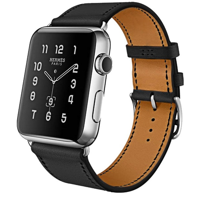 100% Genuine Leather Watchband, Band Color - Black