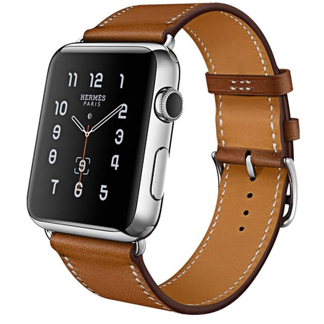 100% Genuine Leather Watchband, Band Color - Brown